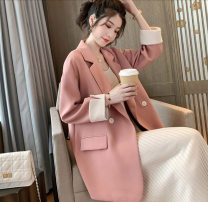 Women's large Summer 2020 Pink Black suit singleton  commute easy moderate Cardigan Long sleeves Solid color Korean version other routine polyester routine Lisa 18-24 years old Button 81% (inclusive) - 90% (inclusive) Polyester 90% other 10% Single row two buttons