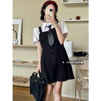 Dress Summer 2021 Shirt + tie, skirt S, M Short skirt Two piece set commute High waist A-line skirt routine straps 18-24 years old Type A Korean version