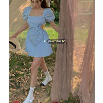 Dress Summer 2021 wathet S, M Short skirt singleton  Short sleeve commute square neck High waist Solid color puff sleeve 18-24 years old Type A Korean version Open back, lace up