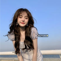 Dress Summer 2021 The sky is blue, fresh and white S, M Short skirt singleton  Short sleeve commute square neck High waist 18-24 years old Type A Retro
