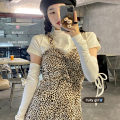Fashion suit Spring 2021 S,M,L Leopard suspender skirt, white T-shirt 18-25 years old