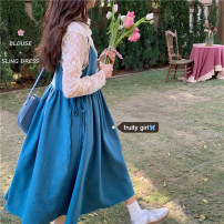 Dress Spring 2021 Lace shirt, blue skirt Average size Mid length dress Two piece set Long sleeves commute High waist Socket 18-24 years old Type A Korean version