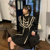 Dress Spring 2021 black Average size Middle-skirt singleton  Long sleeves commute stand collar High waist Dot 18-24 years old Type A Korean version