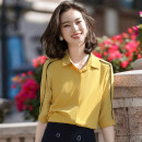 shirt White black yellow S M L XL 2XL 3XL 4XL Spring 2020 polyester fiber 96% and above elbow sleeve commute Regular Polo collar Single row multi button routine other 25-29 years old She-x / Xia Xuaner Ol style GDX-2073 Polyester 100% Same model in shopping mall (sold online and offline) Chiffon
