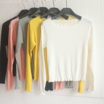 T-shirt White, black, gray, yellow, pink S,M,L,XL,2XL,3XL,4XL Autumn 2020 Long sleeves Crew neck Self cultivation Regular routine commute cotton 96% and above 25-29 years old Korean version classic Auricularia auricula t-20112 fungus