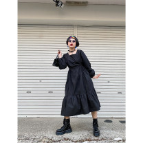 Dress Spring 2020 Black, white S,M,L Mid length dress singleton  Long sleeves commute One word collar High waist Solid color Socket A-line skirt puff sleeve straps 18-24 years old Type A Retro Bow, open back, fold, lace