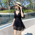 one piece  other Skirt one piece Steel strap breast pad Polyester, others female Sleeveless Casual swimsuit Solid color