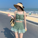 Split swimsuit other Black 223 , Green 223 S [recommended 80-90 kg], m [recommended 90-100 kg], l [recommended 100-110 kg], XL [recommended 110-120 kg], XXL [recommended 120-130 kg] Skirt split swimsuit With chest pad without steel support Spandex, polyester female