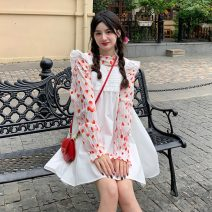 Dress Summer 2021 One piece white suspender skirt , Blue suspender skirt , Flower sweater piece Average size Middle-skirt singleton  commute Loose waist Solid color Socket A-line skirt camisole 18-24 years old Type A Korean version fungus