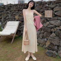 Dress Spring 2021 Average size longuette singleton  Sleeveless commute V-neck High waist Decor Socket A-line skirt camisole 18-24 years old Type A Korean version