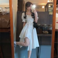 Dress Summer 2021 White, black Average size Mid length dress singleton  Short sleeve commute One word collar High waist Solid color Socket A-line skirt puff sleeve 18-24 years old Type A Korean version Frenulum