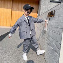 suit Other / other Black, gray 100cm,110cm,120cm,130cm,140cm,150cm,160cm male spring and autumn Korean version 2 pieces routine There are models in the real shooting Single breasted nothing Solid color other children Giving presents at school Class A Other 100% Chinese Mainland Zhejiang Province