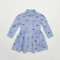 Dress blue female Other / other 2T,3T,4T,5T,6T,7T Cotton 100% 2, 3, 4, 5, 6, 7, 8, 9, 10, 11, 12, 13, 14 years old