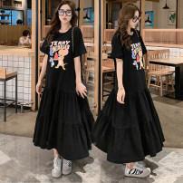Dress Summer 2020 Dark grey, black L,XL,2XL,3XL longuette singleton  Short sleeve Sweet Crew neck Big swing routine More than 95% other cotton