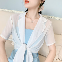 Lace / Chiffon Summer 2021 White, black S,M,L,XL,2XL Short sleeve Versatile Cardigan singleton  Self cultivation have cash less than that is registered in the accounts stand collar Solid color routine 18-24 years old Other / other Frenulum 81% (inclusive) - 90% (inclusive) polyester fiber