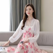 Lace / Chiffon Summer 2021 White, green S,M,L,XL Long sleeves Versatile Cardigan singleton  easy have cash less than that is registered in the accounts V-neck Solid color routine 18-24 years old Gouhua, hollow out, stitching, lace, lace edge 81% (inclusive) - 90% (inclusive) nylon