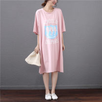 Nightdress Other / other White, light blue, black, pink One size fits all (100-200kg) Cartoon Short sleeve pajamas longuette summer Cartoon animation youth Crew neck cotton printing pure cotton