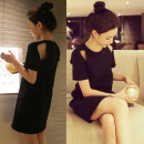 Dress Spring of 2019 black S,M,L,XL,2XL,3XL longuette singleton  Short sleeve commute Crew neck Loose waist Solid color zipper A-line skirt other Others Type H Other / other Korean version backless brocade