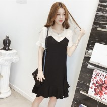 Dress Summer of 2019 Picture color S,M,L,XL,2XL Middle-skirt singleton  Short sleeve commute Crew neck Loose waist Dot Socket Ruffle Skirt routine Others Type A Other / other Korean version Ruffles, folds, stitching, gauze 71% (inclusive) - 80% (inclusive) other polyester fiber