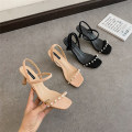 Sandals 35,36,37,38,39 Black, apricot PU Sonlarfu / soranfu Barefoot Fine heel Middle heel (3-5cm) Summer 2021 Trochanter Light cooked Solid color Adhesive shoes Youth (18-40 years old), general rubber daily Ankle strap Cross tie , Buckles , String beads , Ankle strap , Roman style , Pearl Low Gang
