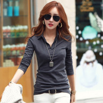 T-shirt S,M,L,XL,2XL Autumn of 2018 Long sleeves Polo collar Self cultivation Regular routine commute cotton 86% (inclusive) -95% (inclusive) 25-29 years old Korean version classic Solid color Three dimensional decoration