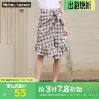 skirt Summer of 2019 160/64A,165/68A,155/62A,160/66A,165/72A,165/74A,170/76A Yellow group, blue group Middle-skirt Sweet other lattice Type H 18-24 years old More than 95% other Meters Bonwe cotton college