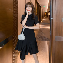 Dress Summer 2021 black S,M,L,XL,160/84A,165/88A,170/92A,175/96A Middle-skirt Two piece set Short sleeve commute Polo collar High waist Solid color zipper Ruffle Skirt routine Others 25-29 years old Type A Other / other Korean version Lotus leaf edge other other