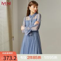 Dress Spring 2021 blue M L XL XXL Mid length dress singleton  Long sleeves commute Polo collar Elastic waist Solid color Socket Big swing routine Others 30-34 years old Type H Iveni Korean version Splicing 21DC082 More than 95% polyester fiber Polyester 100%