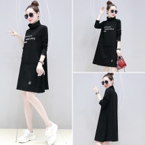 Sweater / sweater Autumn of 2019 black M,L,XL,2XL Long sleeves Medium length Socket singleton  routine High collar easy commute other letter 51% (inclusive) - 70% (inclusive) Miao Ke Korean version cotton wy0006 Stitching, printing cotton