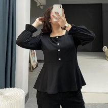 Women's large Spring 2021 black Other oversize styles singleton  Sweet Self cultivation moderate Socket Long sleeves square neck routine Three dimensional cutting pagoda sleeve Yizishang 30-34 years old Three dimensional decoration Other 100% Pure e-commerce (online only)
