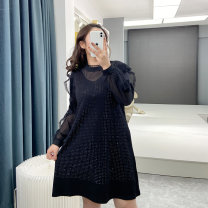 Women's large Spring 2021 black XL (recommended weight 110-130 kg) 2XL (recommended weight 130-150 kg) 3XL (recommended weight 150-170 kg) 4XL (recommended weight 170-190 kg) 5XL (recommended weight 190-210 kg) Dress singleton  commute Straight cylinder moderate Socket Long sleeves Crew neck other