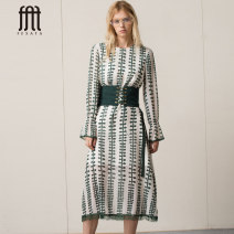 Dress Spring of 2018 Decor (no waist cover) XS S M L Mid length dress singleton  Long sleeves street Crew neck Elastic waist Decor Socket other routine 25-29 years old Type H FEXATA Three dimensional mosaic decoration 81813912/2A More than 95% Chiffon polyester fiber Polyester 100% Europe and America