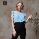 shirt S M L Summer of 2018 other 96% and above Sleeveless commute Regular Crew neck Socket Lotus leaf sleeve Solid color 25-29 years old Straight cylinder FEXATA court Three dimensional decoration of Ruffle Regenerated cellulose fiber 100%