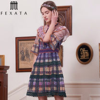 Dress Summer 2021 Color grid S M L Middle-skirt commute A-line skirt pagoda sleeve 25-29 years old FEXATA court 72023903/6B-3 More than 95% polyester fiber Polyester 100% Same model in shopping mall (sold online and offline)