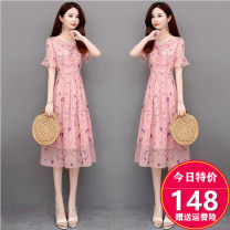 Dress Summer 2020 Blue, pink M. L, XL, 2XL, 3XL, discount 20 for single coupon, shopping cart + collection + focus on store, enjoy priority delivery singleton  Short sleeve commute Lotus leaf collar High waist Broken flowers Socket Big swing Lotus leaf sleeve Others 35-39 years old Type A YM-CC62