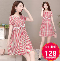 Dress Summer 2020 Red grid, gray grid M. L, XL, 2XL, 3XL, discount 20 for single coupon, shopping cart + collection + focus on store, enjoy priority delivery Middle-skirt singleton  Short sleeve commute Crew neck High waist lattice Socket A-line skirt routine Others 35-39 years old Type A DD-X1989