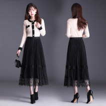 skirt Spring 2021 Average size Mid length dress Versatile High waist A-line skirt Solid color Type A 25-29 years old Lace
