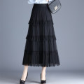 skirt Spring 2021 Average size Black, off white, black - two lace, off white - two lace, champagne - two lace Mid length dress commute High waist Cake skirt Solid color Type A other other Pleats, gauze, stitching Korean version