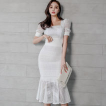 Dress Summer 2021 white S,M,L,XL Mid length dress Two piece set Short sleeve commute square neck High waist Solid color zipper Ruffle Skirt shirt sleeve Others 25-29 years old Type H Korean version Cut out, ruffle, stitching, zipper, lace 71% (inclusive) - 80% (inclusive) Lace nylon