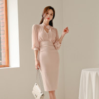 Dress Autumn of 2019 Pink S,M,L,XL Mid length dress singleton  three quarter sleeve commute V-neck High waist Solid color zipper One pace skirt Others 25-29 years old Type H Korean version Bowknot, lace up, stitching 71% (inclusive) - 80% (inclusive) brocade nylon