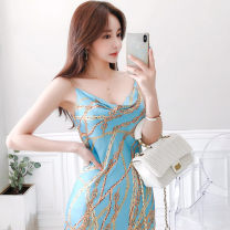 Dress Summer 2020 blue S,M,L,XL longuette singleton  Sleeveless commute One word collar High waist Decor Socket One pace skirt camisole 25-29 years old Type H Other / other Korean version printing 71% (inclusive) - 80% (inclusive) brocade polyester fiber