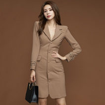 Dress Autumn of 2019 khaki S,M,L,XL Middle-skirt singleton  Long sleeves commute tailored collar High waist Solid color Single breasted One pace skirt routine Others 25-29 years old Type H Ol style Button 51% (inclusive) - 70% (inclusive) brocade cotton