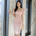 Dress Summer 2021 Pink S,M,L,XL Mid length dress singleton  Short sleeve commute square neck High waist Solid color zipper One pace skirt puff sleeve Others 25-29 years old Type H Korean version zipper 71% (inclusive) - 80% (inclusive) brocade nylon