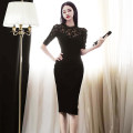 Dress Autumn 2020 black S,M,L,XL Mid length dress singleton  Short sleeve commute Crew neck middle-waisted Solid color zipper One pace skirt routine Others 25-29 years old Type H Korean version Cut out, pleated, zipper 71% (inclusive) - 80% (inclusive) brocade nylon