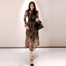 Dress Autumn of 2019 black S,M,L,XL longuette singleton  Long sleeves commute Crew neck High waist Solid color zipper Big swing Others 25-29 years old Type H Korean version 71% (inclusive) - 80% (inclusive) Lace