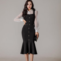 Dress Spring 2021 black S,M,L,XL Mid length dress Two piece set Long sleeves commute Polo collar High waist Solid color zipper Ruffle Skirt straps 25-29 years old Type H Korean version 71% (inclusive) - 80% (inclusive) brocade nylon