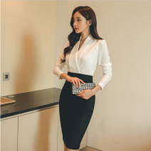 Dress Spring 2021 white S,M,L,XL Mid length dress singleton  Long sleeves commute V-neck High waist Solid color zipper One pace skirt routine Others 25-29 years old Type X Yitian fashion Ol style Panel, button, zipper 71% (inclusive) - 80% (inclusive) brocade cotton