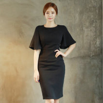 Dress Summer of 2018 black S,M,L,XL Middle-skirt singleton  Short sleeve commute Crew neck High waist Solid color zipper One pace skirt Bat sleeve Others 25-29 years old Type H Korean version zipper 71% (inclusive) - 80% (inclusive) brocade nylon