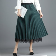 skirt Spring 2021 One size fits all Black, blue, green Mid length dress Versatile High waist Pleated skirt Solid color Type A 25-29 years old
