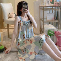 Nightdress Other / other Deer -- with chest pad, random printing -- with chest pad, watermelon -- with chest pad, yellow lattice -- with chest pad, strawberry bear -- with chest pad, wave point -- with chest pad M. L, XL, XXL, pay attention to the shop and give small gifts Sweet camisole pajamas fawn